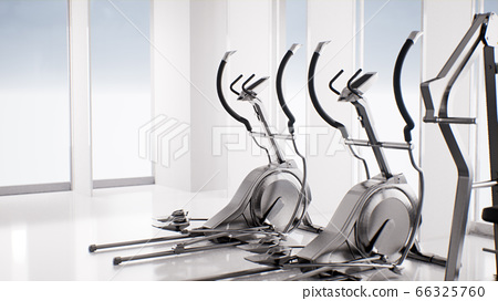empty gym with fitness exercise elliptical 66325760