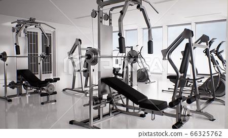 empty modern gym interior 3d render, sports 66325762