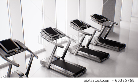 empty gym interior with exercise equipment, modern fitness center, indoor exercise, 3d rendering 66325769