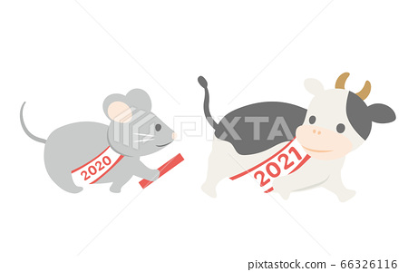 쥐에서 소에 2021 년 간지 바톤 터치의 일러스트 66326116