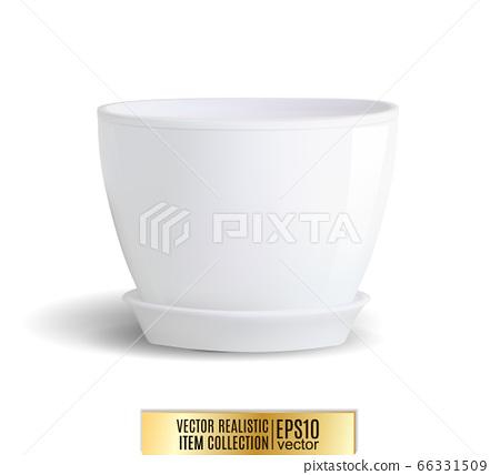 White flower pot on white background. Vector realistic item, 3d illustration 66331509