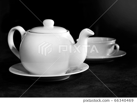 White porcelain tea cup and teapot, Afternoon tea 66340469