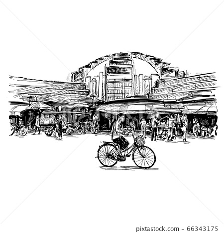 Drawing of the local market in Cambodia  66343175