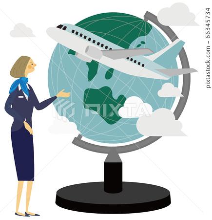 Travel, airplane, globe, illustration, ca 66345734