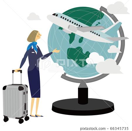 Travel, airplane, globe, illustration, ca 66345735