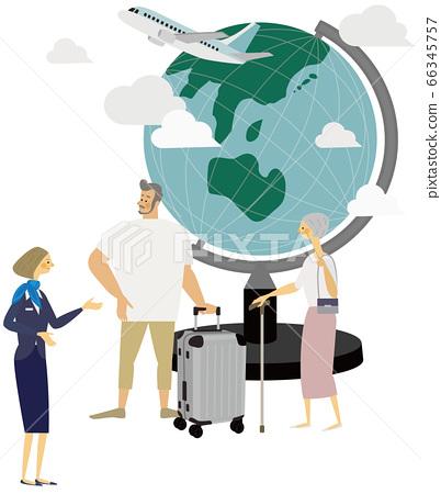 Travel, airplane, globe, illustration, family, ca 66345757