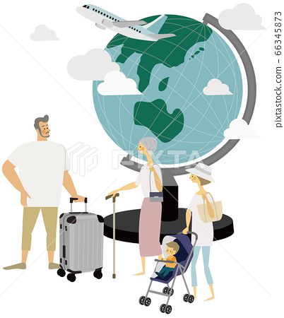 Travel, airplane, globe, illustration, family 66345873