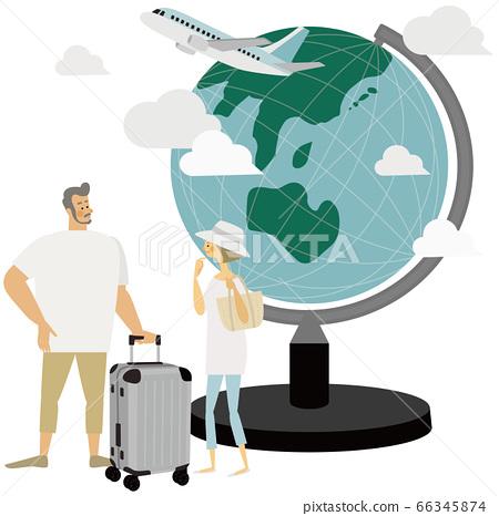 旅行,飛機,地球儀,插圖,情侶,情侶 66345874