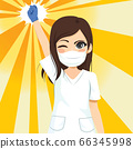 Beautiful young female nurse winking and raising fist up power concept 66345998