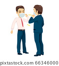 Two businessman meet with new salutation greeting to avoid the spread of coronavirus 66346000