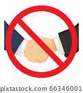 Forbidden red sign of shacking businessman hands on business meeting social distance concept 66346001