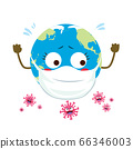 Cute helpless planet Earth surrounded by Coronavirus cartoon characters pandemic attack concept 66346003