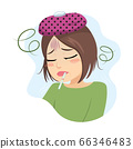 Middle aged sad woman having fever with thermometer on mouth virus infection concept 66346483