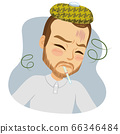 Middle aged sad man having fever with thermometer on mouth virus infection concept 66346484