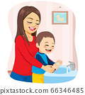 Mom and kid happy washing hands on bathroom hygiene concept 66346485