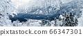 Panorama of Hallstatt Winter snow mountain 66347301
