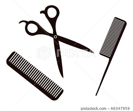 美髮師的剪刀和梳子圖 66347959