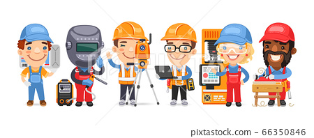 Cartoon Worker Characters with Different Professions 66350846