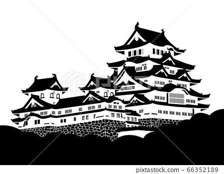 姬路城城堡塔黑色和白色剪影 66352189