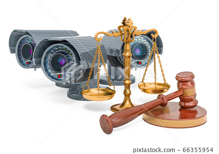 Security surveillance cameras with wooden gavel 66355954