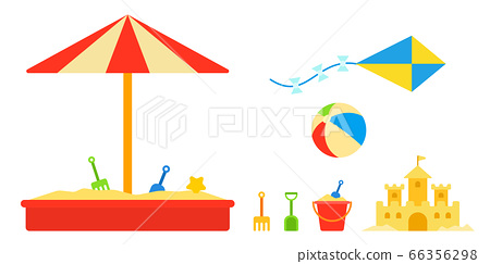 Children's sandbox with toys and umbrella 66356298