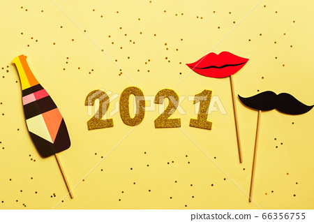 Happy New year 2021 celebration. Gold numeral 2021. Flat lay. 66356755