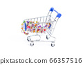 shopping cart with beads of multi-colored gemstones on a white background. isolate 66357516