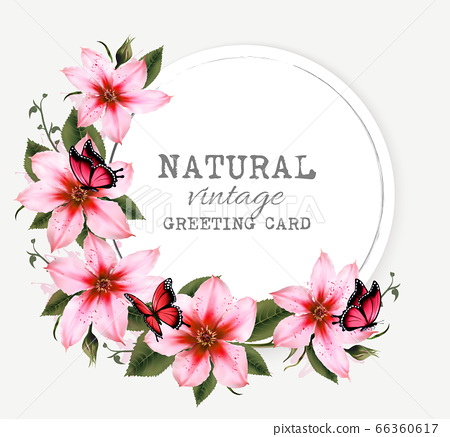 Natural vintage greeting card with beautiful pink 66360617