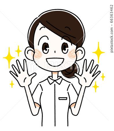 護士女人用閃亮的手 66363462