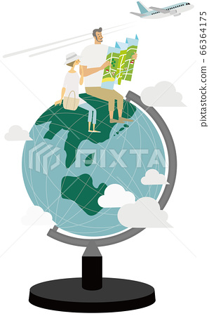 Men and women spreading the map on the globe 66364175