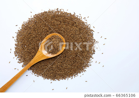 Cumin or caraway seeds on white background. 66365106