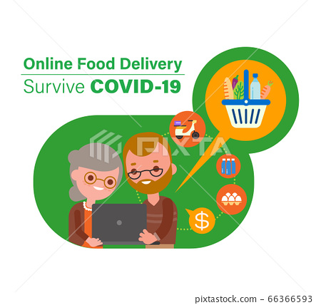 Online food delivery during Covid-19 virus pandemic. 66366593