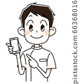 Male healthcare worker with smartphone 66368016