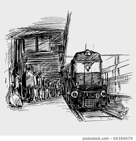 Drawing of train station in India  66369079