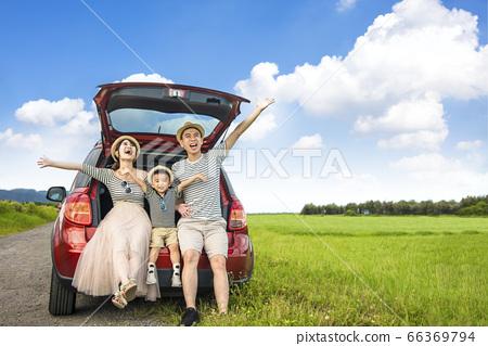 Happy family on  road trip in the car. having fun 66369794