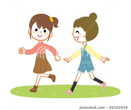 女孩開心地跑步 66369936