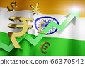 INR Indian Rupee Currency with India National Flag 66370542