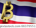 THB Thai Baht Currency Sign on Thailand National 66370551