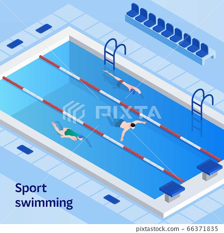 Sport swimming concept banner, isometric style 66371835