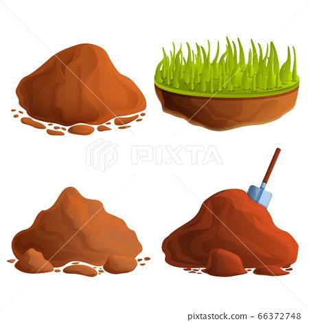 Soil icons set, cartoon style 66372748