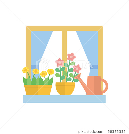 창문 창가 일러스트 66373333