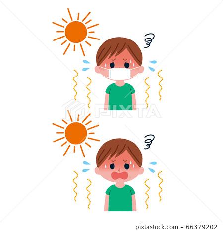 열사병 마스크 있음 없음 어린이 일러스트 66379202