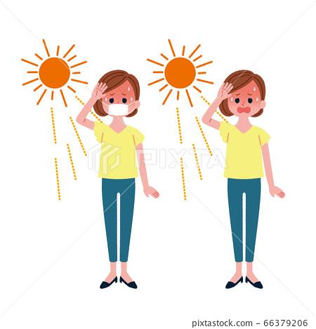 有或沒有中暑面膜的女人 66379206