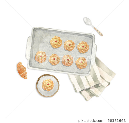 illustration - baking sheet with fresh baked pastry, croissant, plate, 66381668