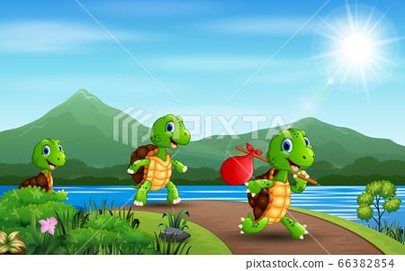 Cartoon three turtles running at the road 66382854