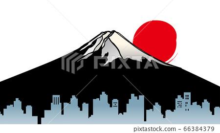 富士山的城市景觀和日出的插圖 66384379