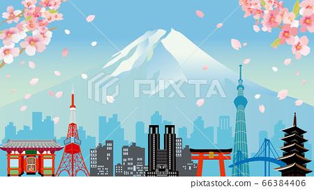 櫻花,富士山和東京建築物的插圖 66384406