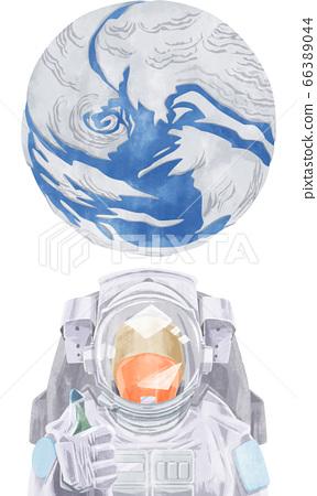 宇航員和地球的水彩插圖 66389044