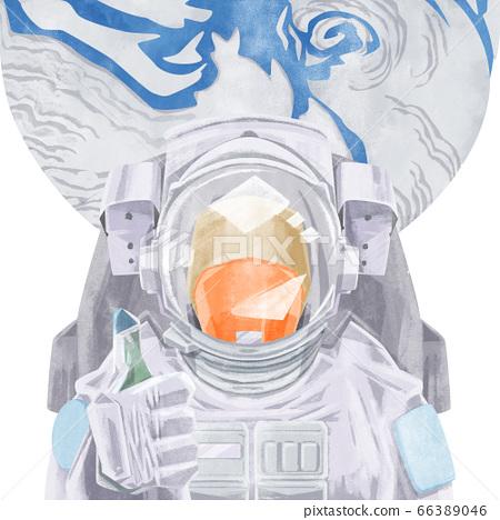 宇航員和地球的水彩插圖 66389046