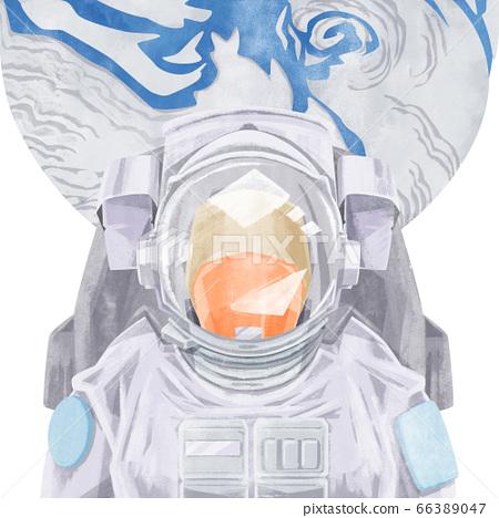 宇航員和地球的水彩插圖 66389047
